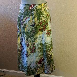 Farm Scene Print Slip Skirt with Lace Trim